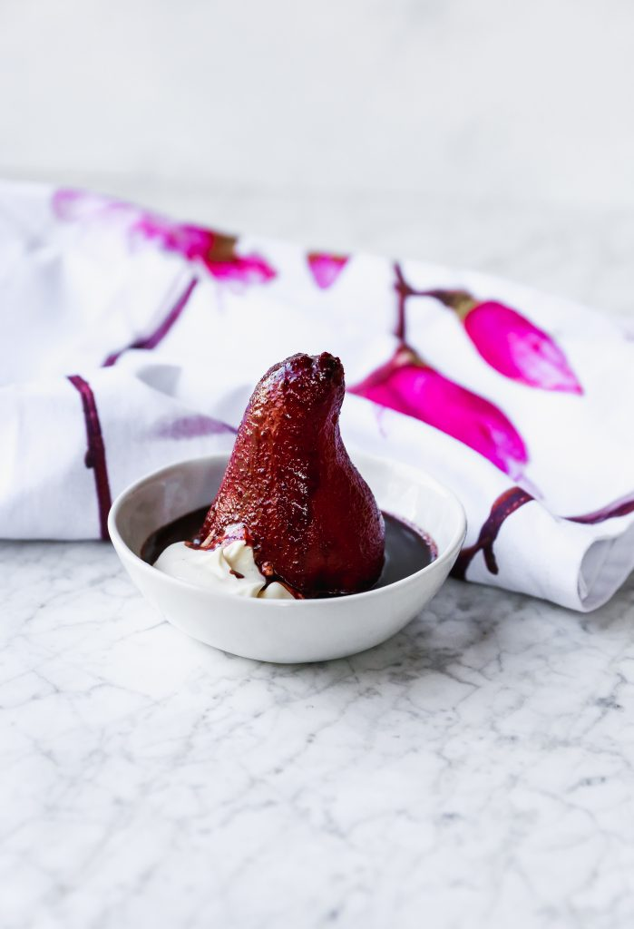 Red Wine Poached Pears with Chocolate & Cardamom