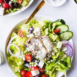 My Favorite Greek Salad with Pepperoncini Vinaigrette