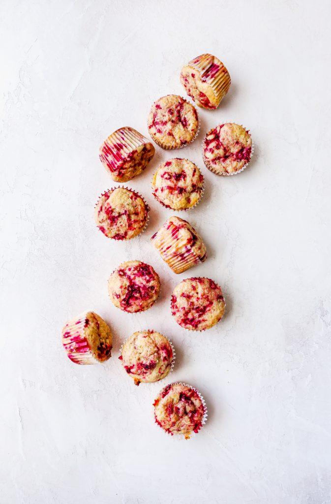 Raspberry Yogurt Muffins with Honey Lemon Butter