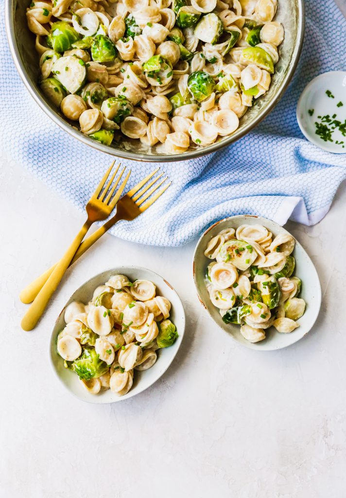 Creamy Goat Cheese & Brussels Sprouts Pasta