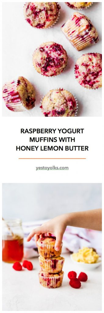Raspberry Yogurt Muffins with Honey Lemon Butter
