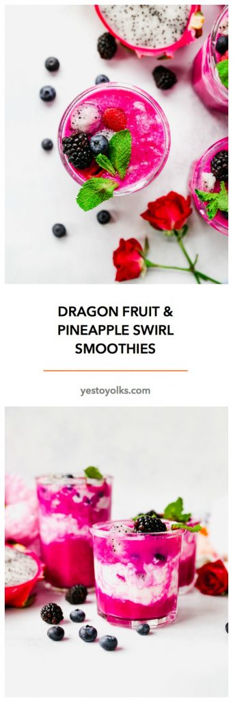 Dragon Fruit & Pineapple Swirl Smoothies