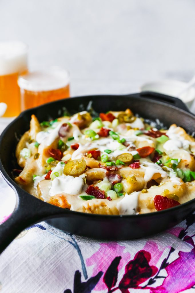 Skillet Cheese Fries with Bacon, Pickled Jalapeños, & Ranch