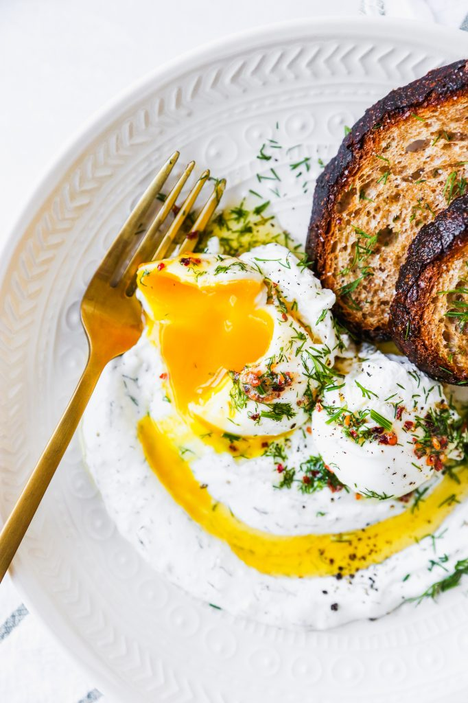 Turkish Eggs with Garlicky Yogurt & Spiced Butter