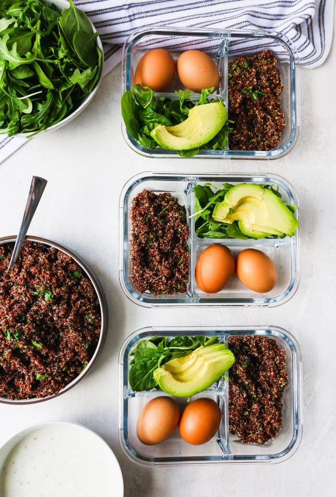 Meal Prep Quinoa & Greens Bowls with Eggs