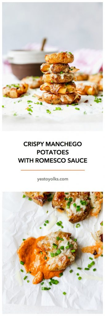 Crispy Manchego Potatoes with Romesco Sauce