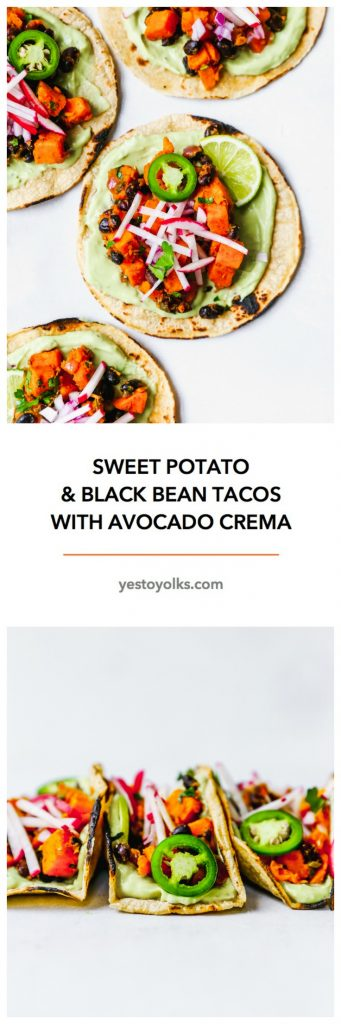 Sweet Potato & Black Bean Tacos with Avocado Crema