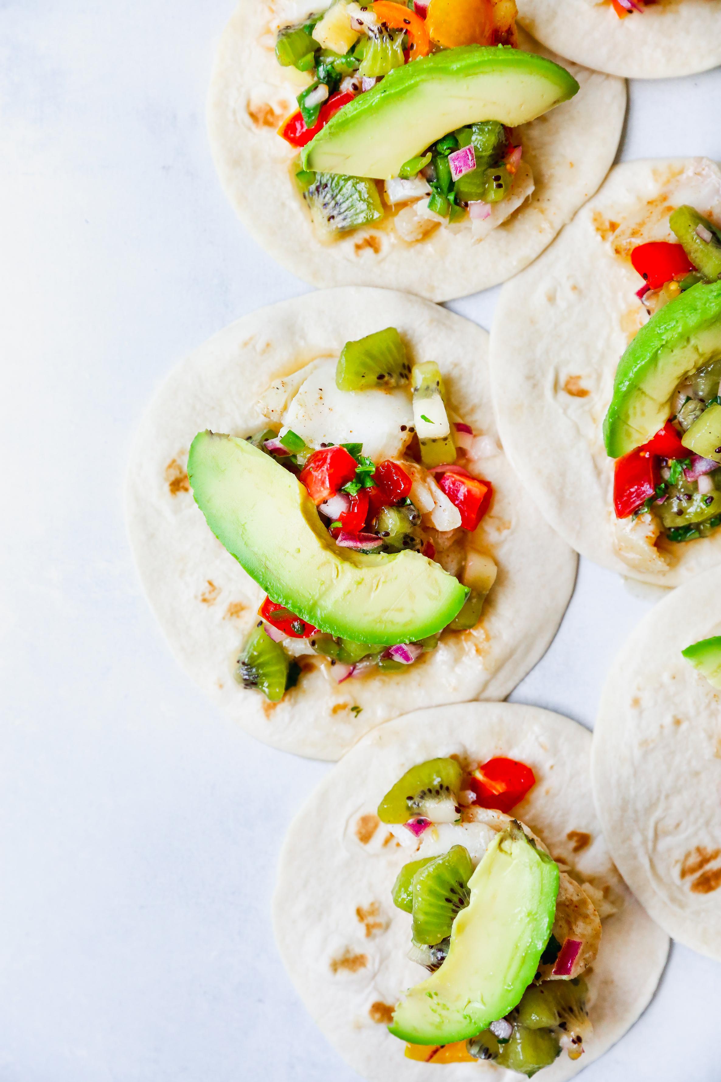 White Fish Tacos with Kiwi Salsa & Chipotle Lime Crema