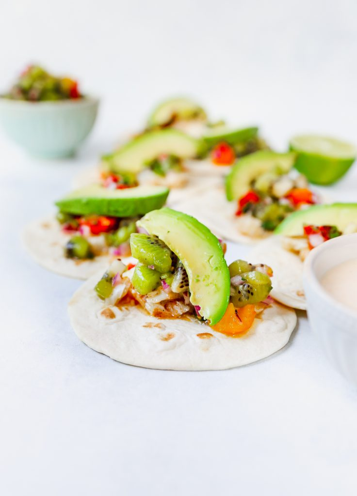 White Fish Tacos with Kiwi Salsa & Chipotle Lime Crema