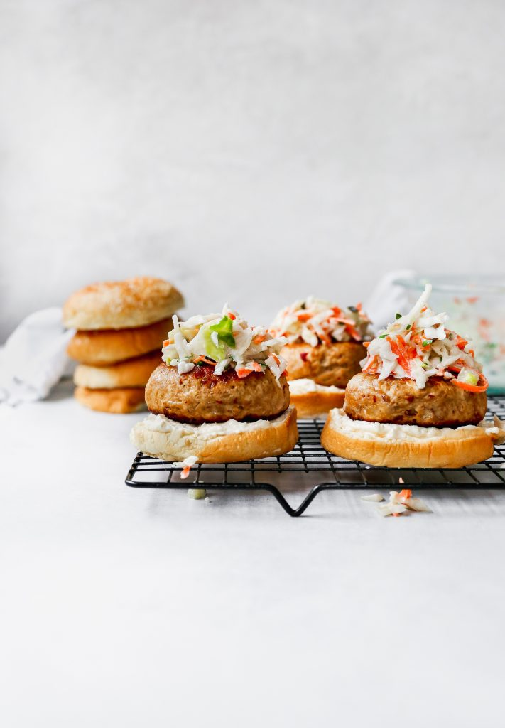 Korean Chicken Burgers with Pickle Slaw & Garlic Mayo