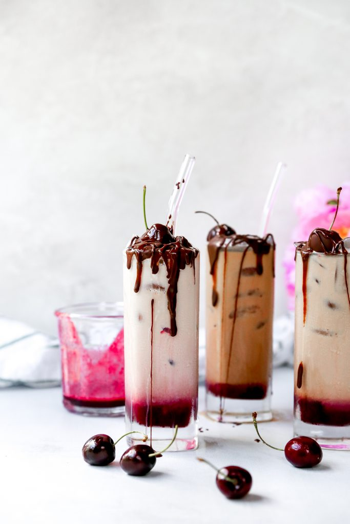 Chocolate Covered Cherry Iced Lattes