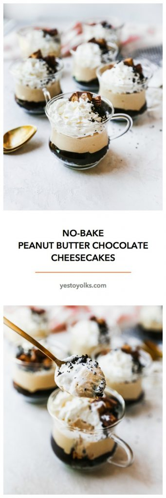 No-Bake Peanut Butter Chocolate Cheesecakes