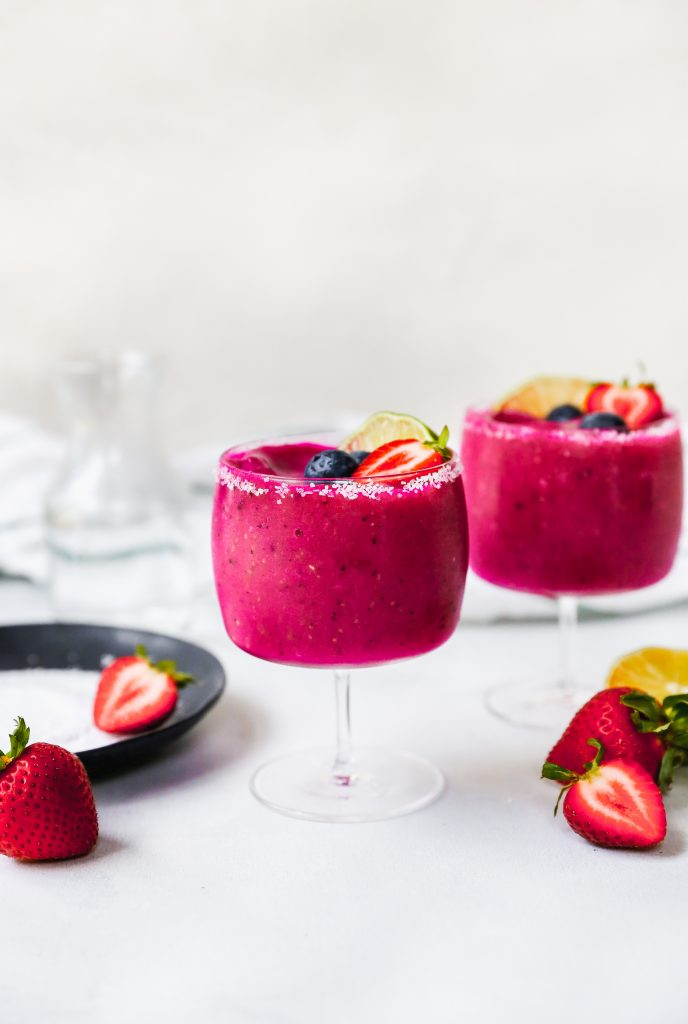 Frozen Dragon Fruit & Strawberry Margaritas