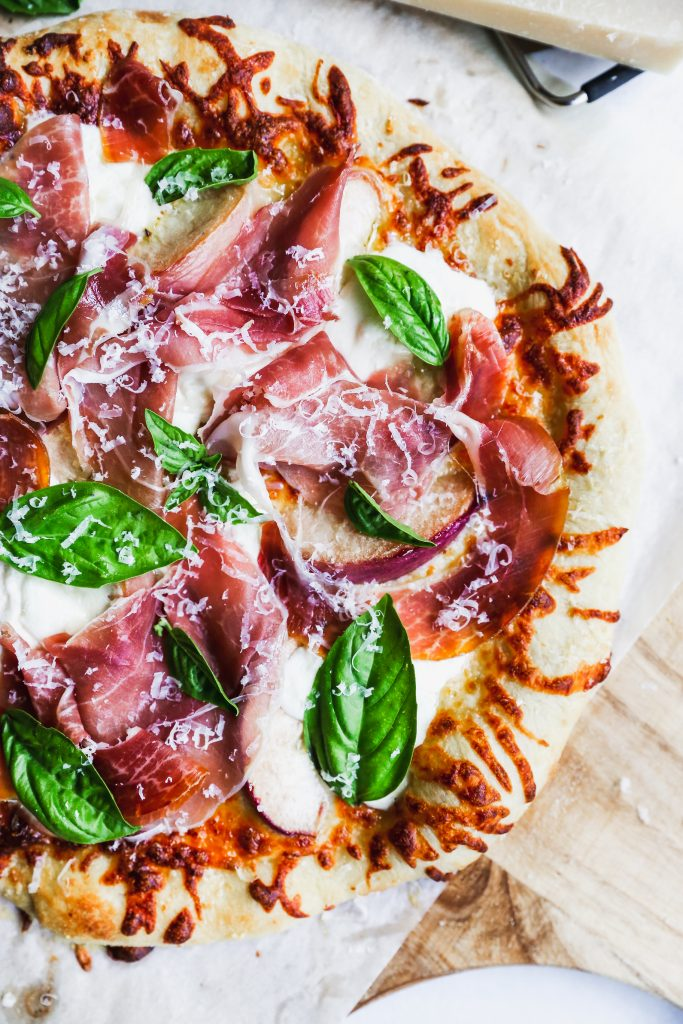 Peach & Prosciutto Pizza with Burrata