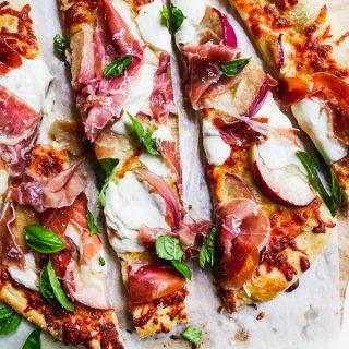 Peach & Prosciutto Pizza with Burrata