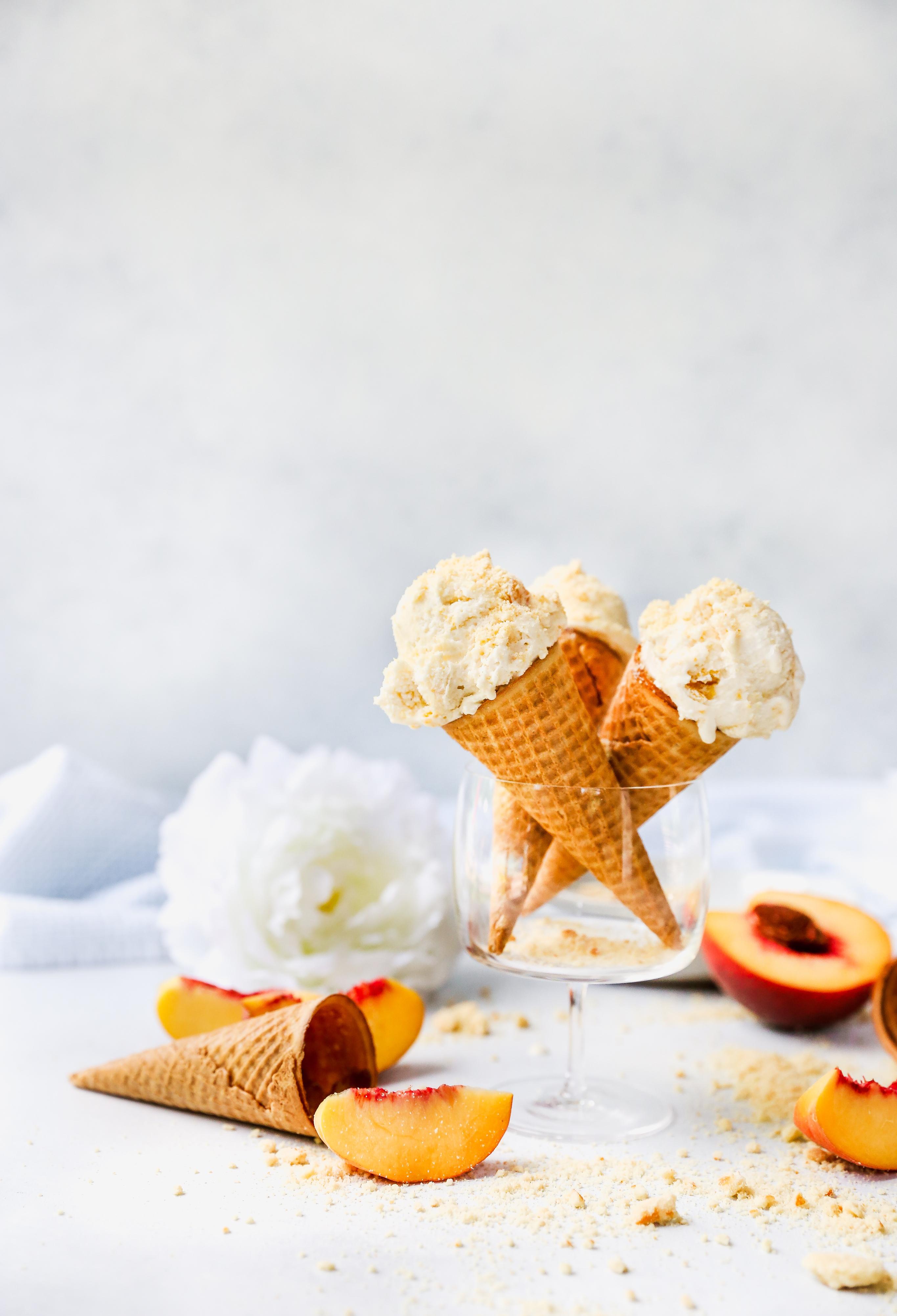 Peaches & Cream Ice Cream with Cookie Crumble