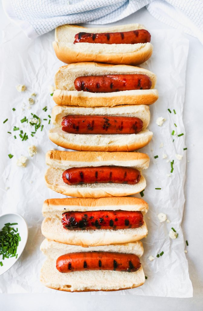 Buffalo Cheese Dogs with Blue Cheese Slaw