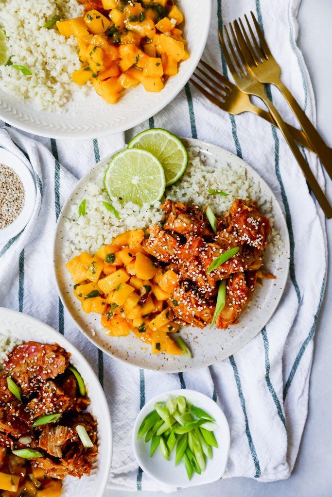 Meal Prep Slow-Cooker Korean Chicken with Mango Salsa