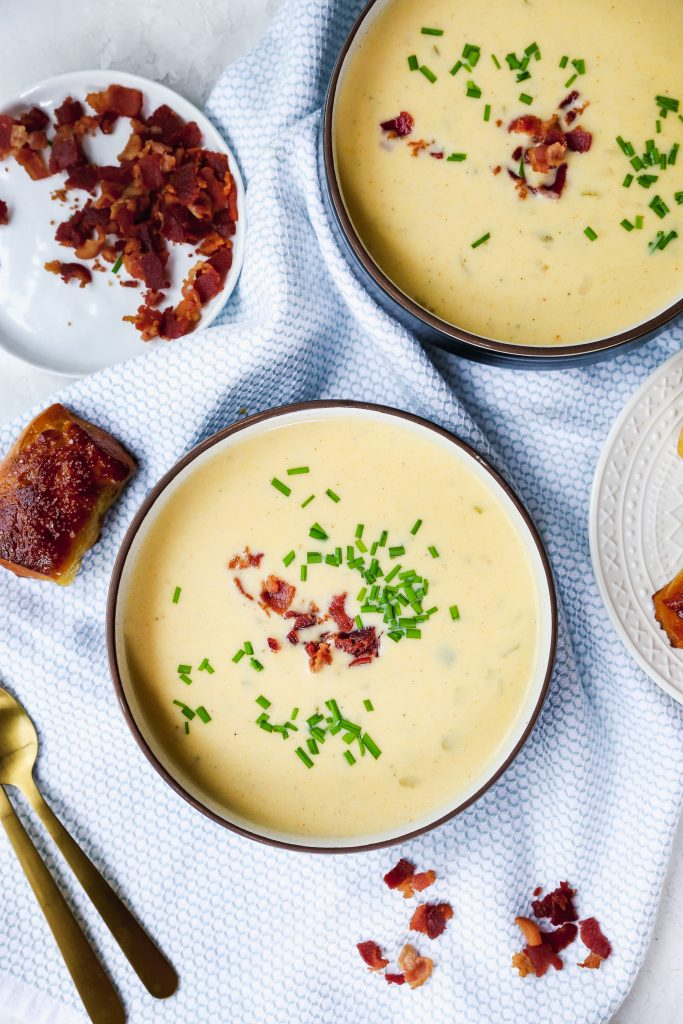 Beer-Cheese Soup with Soft Pretzel Dippers