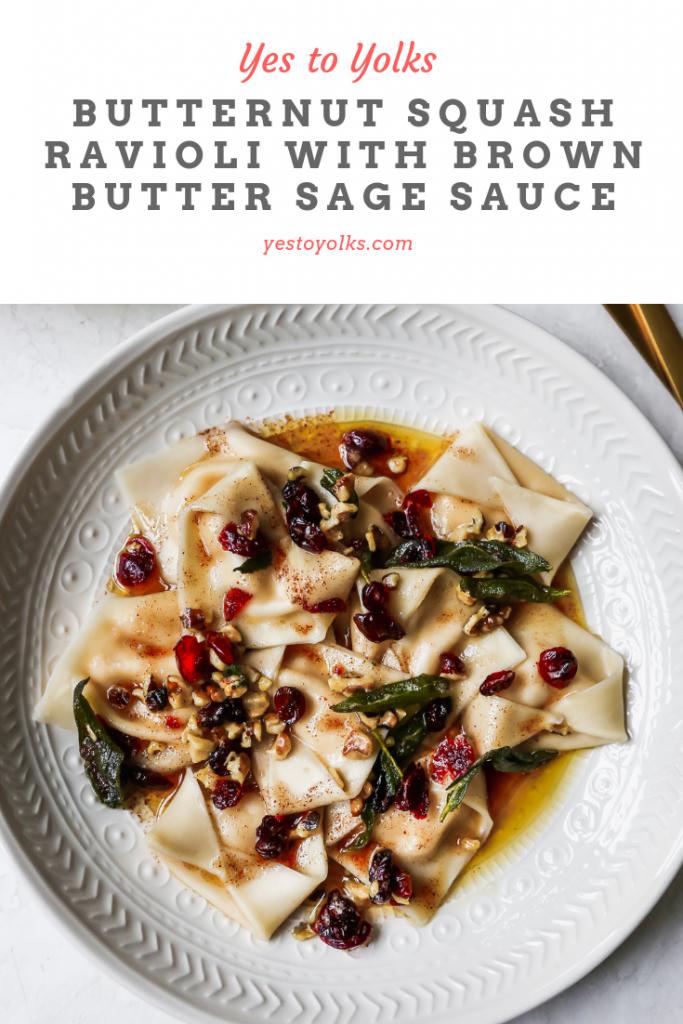 Butternut Squash Ravioli with Brown Butter Sauce, Cranberries, & Walnuts