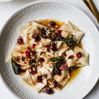 Butternut Squash Ravioli with Brown Butter Sauce, Cranberries, & Walnuts