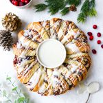 Candied Ginger & Cranberry Cinnamon Roll Wreath
