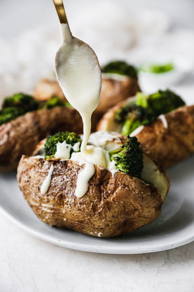 Cheesy Broccoli Loaded Baked Potatoes
