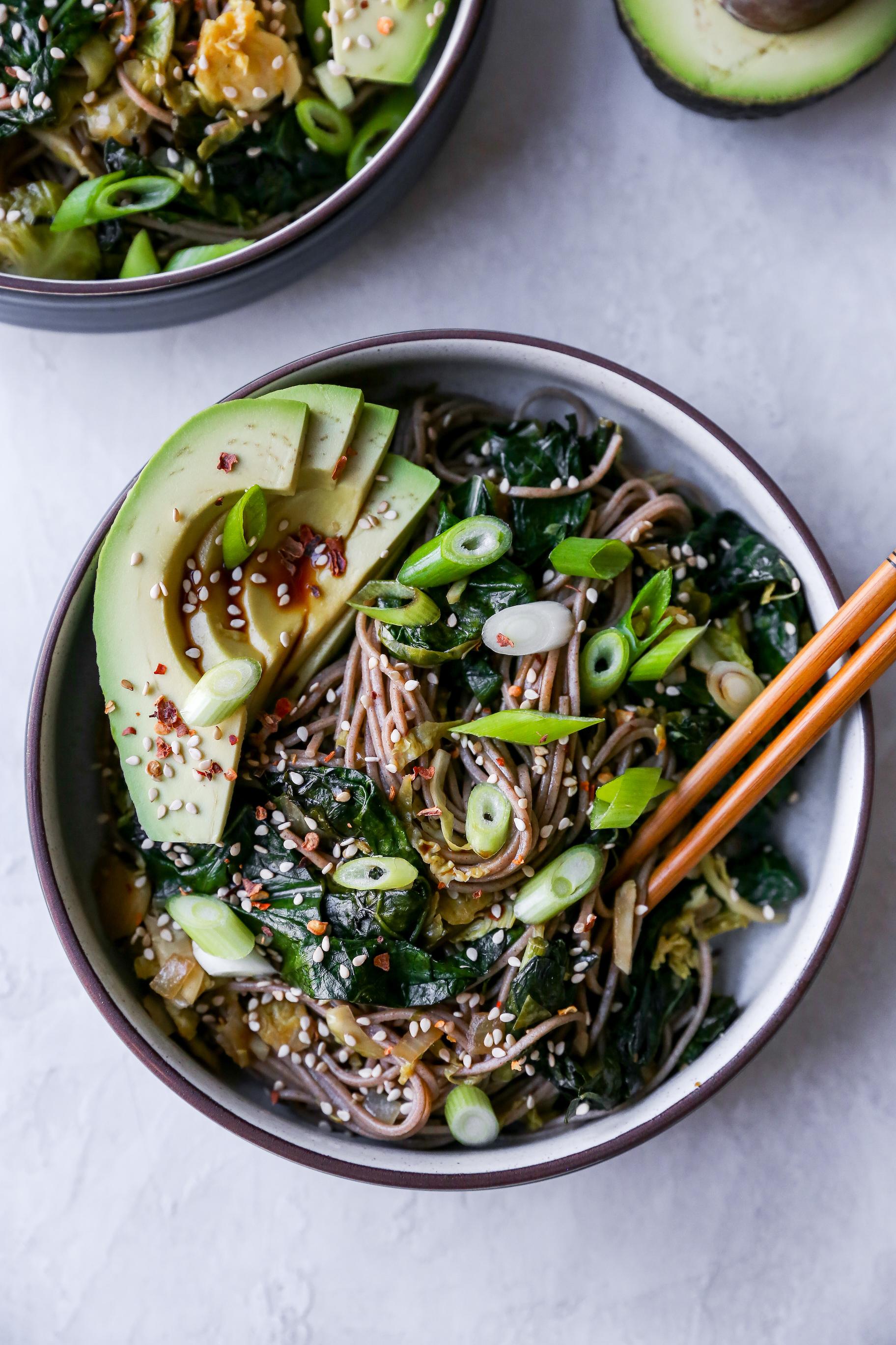 Warm Soba Noodle Salad with Greens & Avocado