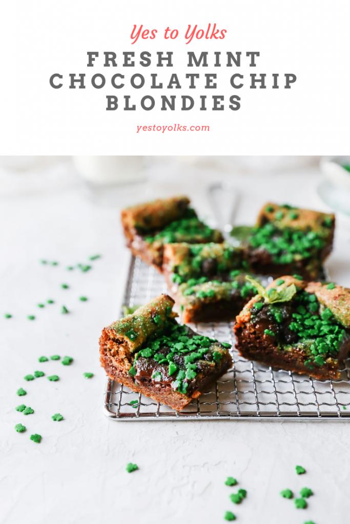 Fresh Mint Chocolate Chip Blondies