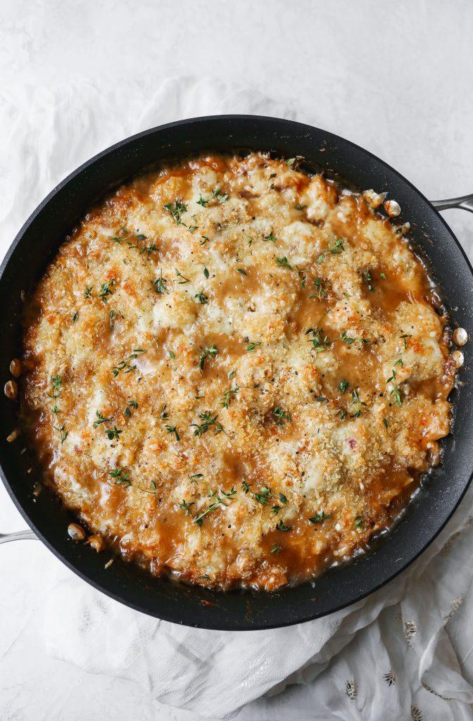 One-Pan French Onion Chicken Gnocchi Bake
