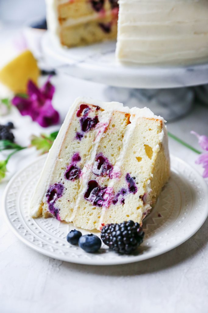 Lemon Blueberry Layer Cake with Cream Cheese Frosting