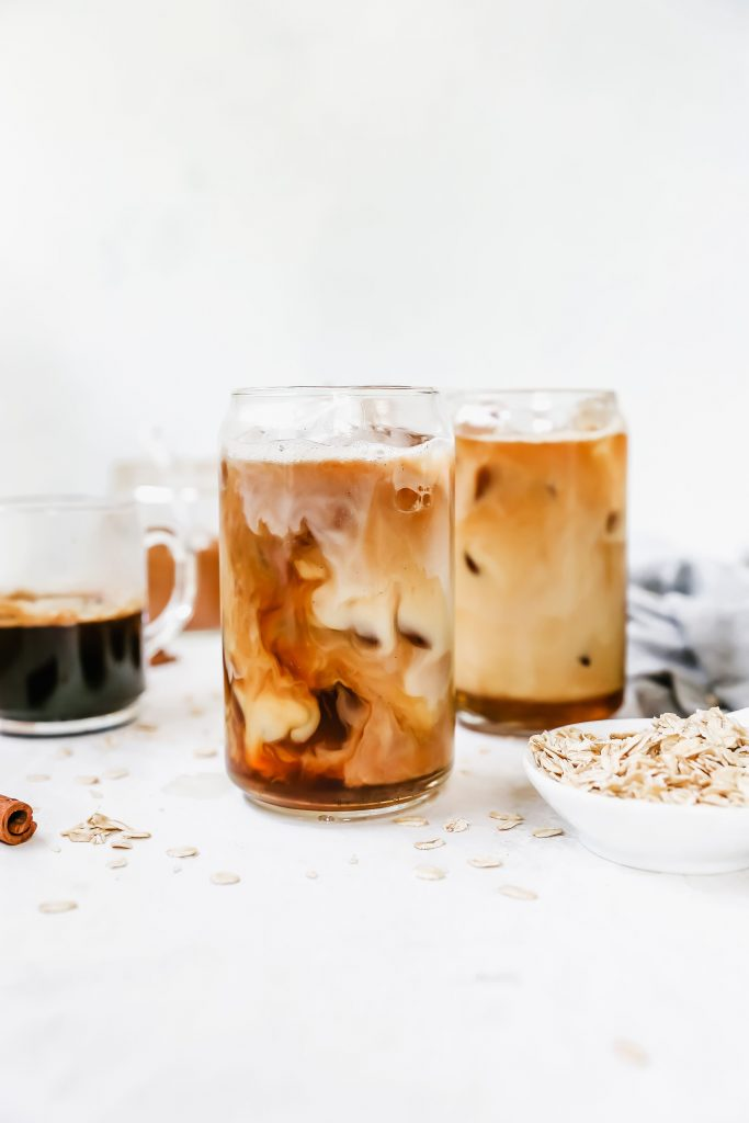 Iced Maple Cinnamon Oat Milk Lattes
