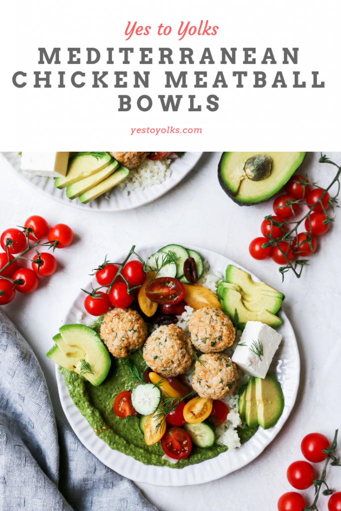 Mediterranean Chicken Meatball Bowls with Avocado Cream