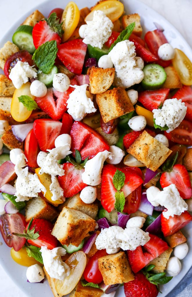 Strawberry Panzanella Salad with Burrata & Basil Vinaigrette
