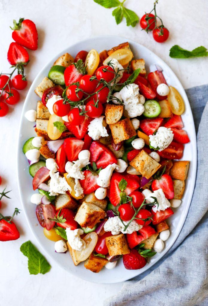 Strawberry Panzanella Salad with Burrata & Basil Vinaigrette