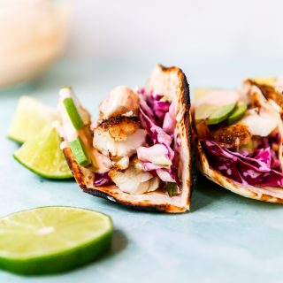 Fish Tacos with Limey Slaw & Bang Bang Sauce