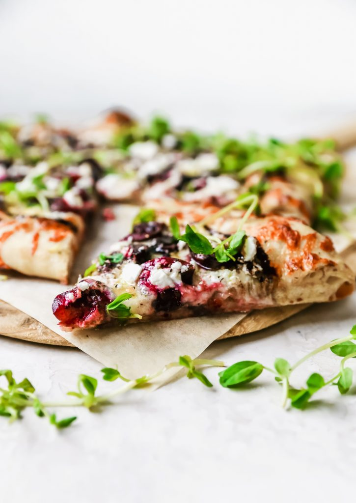 Summer Pizza with Cherries & Feta
