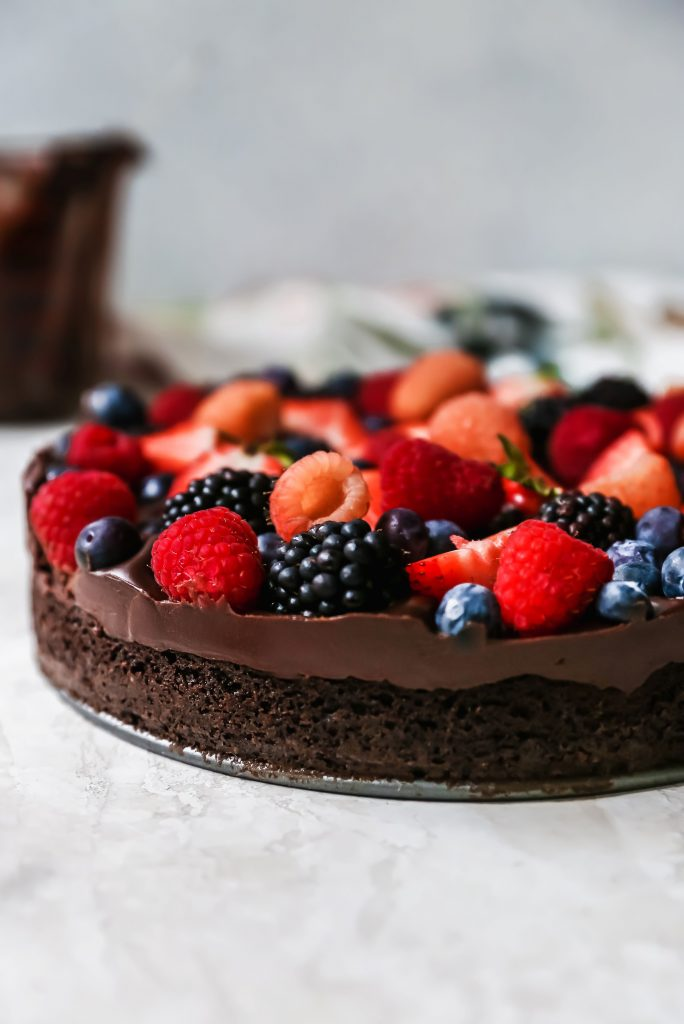Berry Brownie with Red Wine Ganache