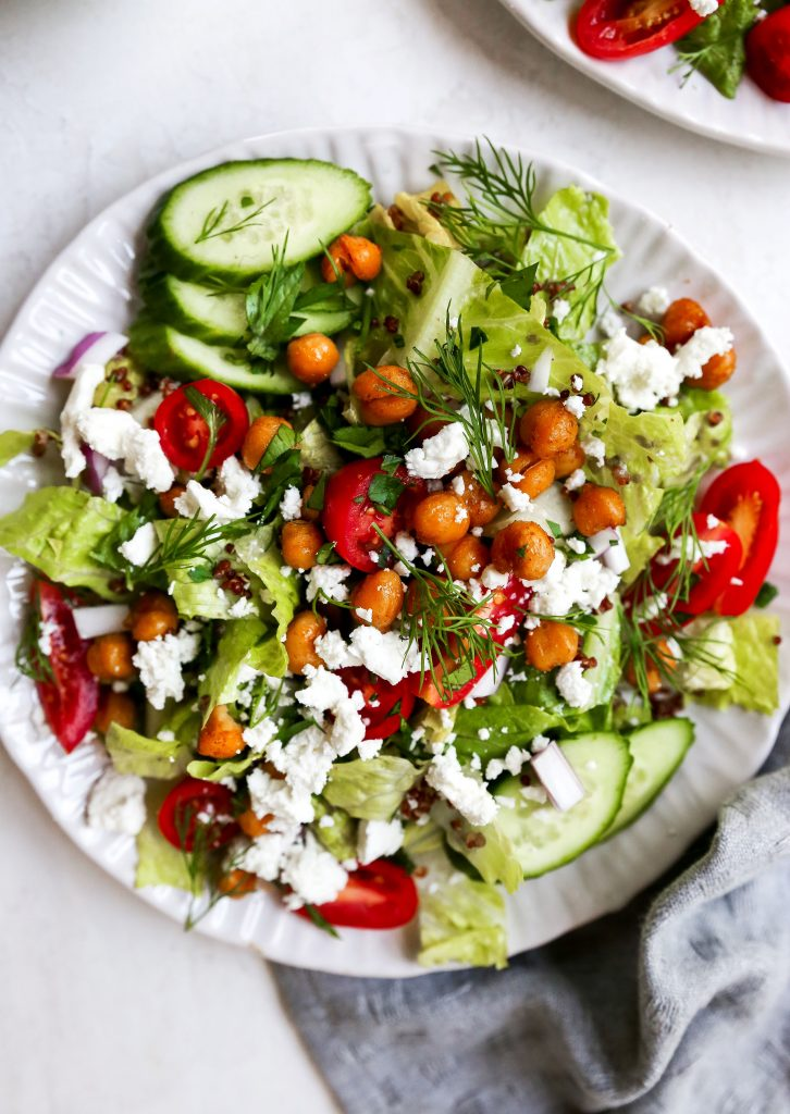 Greek Salad with Quinoa & Crispy Chickpeas