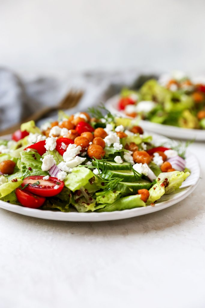 Greek Salad with Quinoa & Crispy Chickpeas