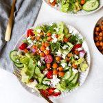 Greek Salads with Quinoa & Crispy Chickpeas