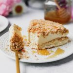 No-Churn Salted Honey Ice Cream Cake with Pretzel-Cookie Crumble