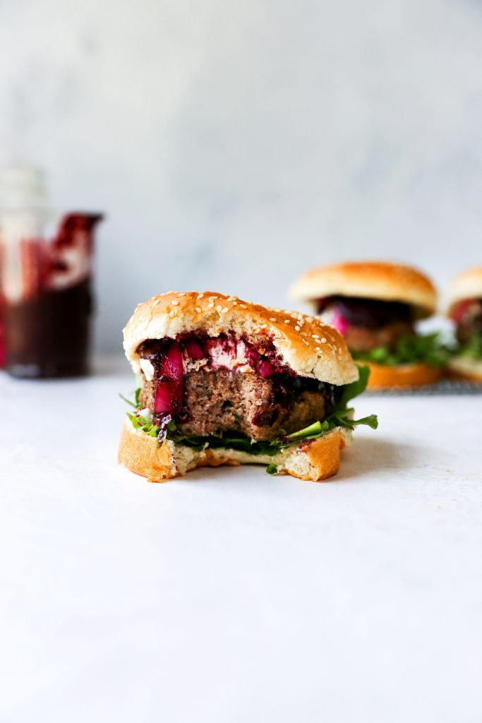 Burgers with Blueberry BBQ Sauce, Goat Cheese, & Pickled Red Onions