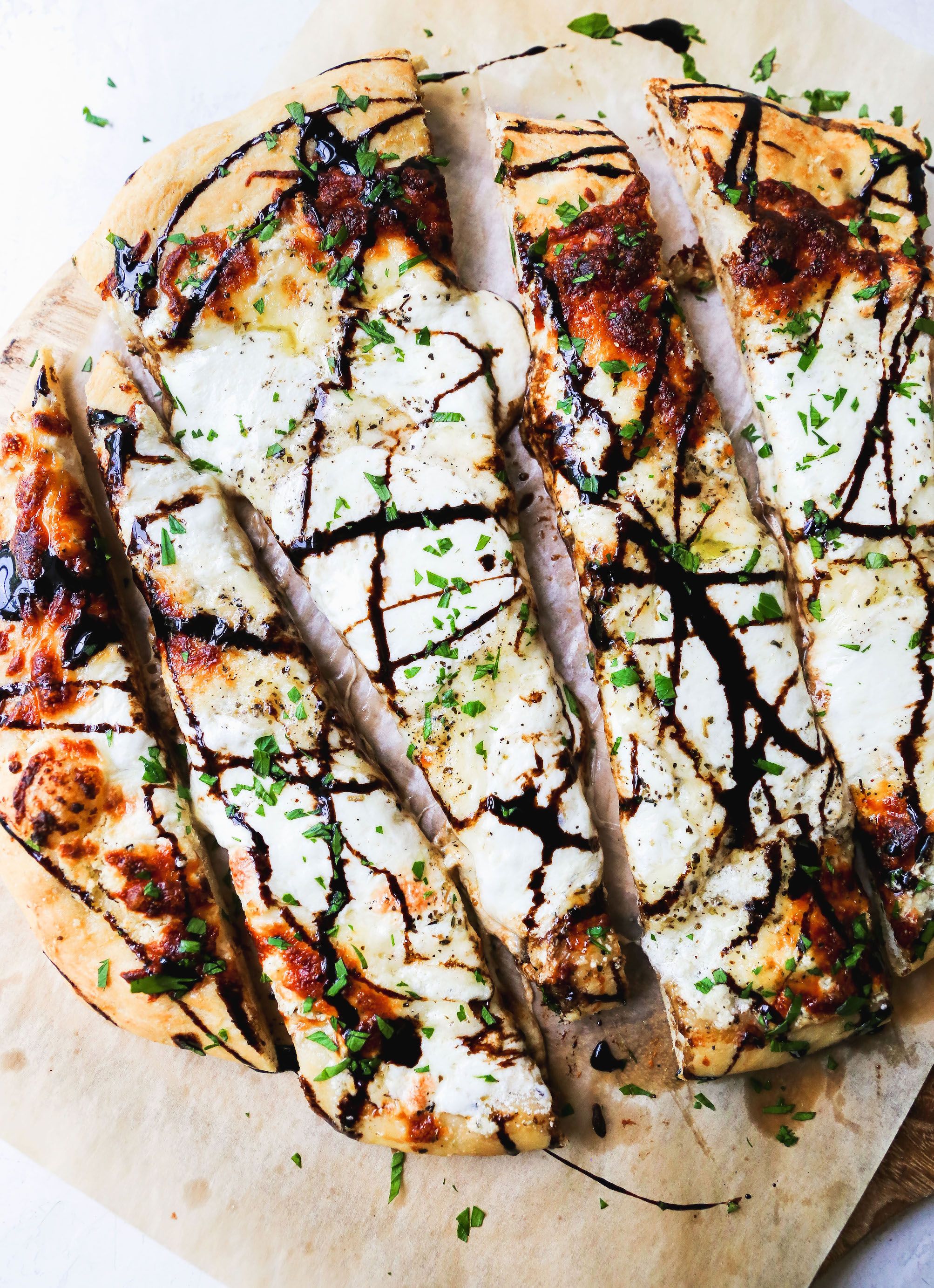 White Pizza With Goat Cheese Fresh Mozzarella Balsamic Glaze