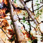 White Pizza with Goat Cheese, Fresh Mozzarella & Balsamic Glaze
