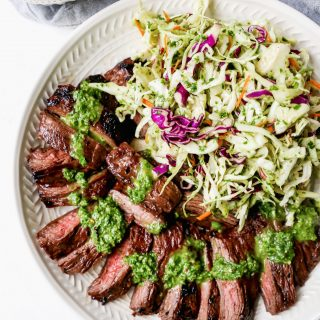 Marinated Skirt Steak with Chimichurri Slaw