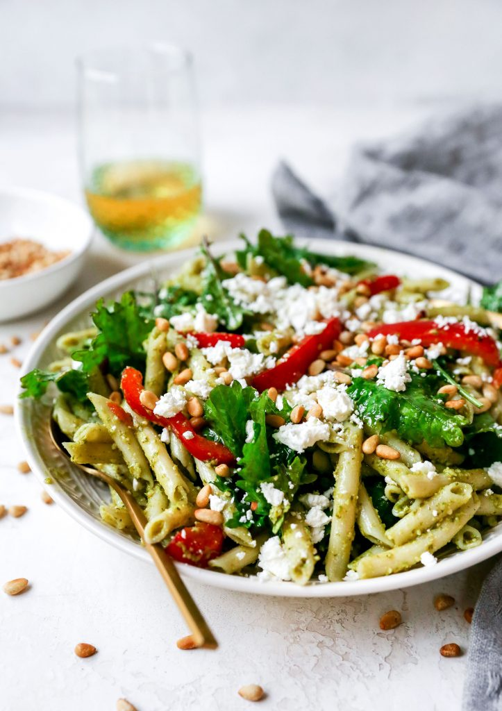 Arugula Pesto Pasta Salad with Feta