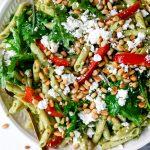 Arugula Pesto Pasta Salad with Feta
