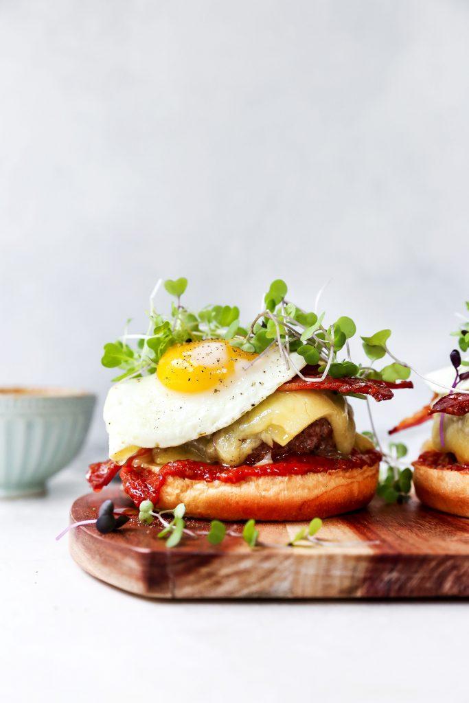 Breakfast Cheeseburgers with Smoky Tomato Jam