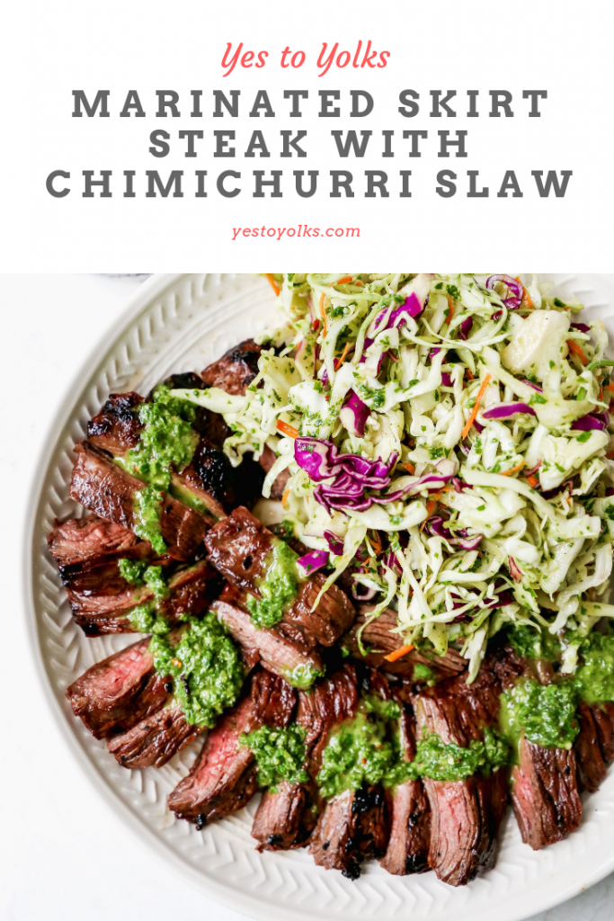 Marinated Skirt Steak with Chimichurri Slaw